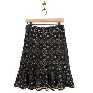Ann Taylor Lace Overlay Flounce Skirt Size 2 Black